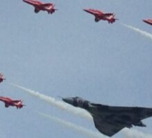 Red Arrows Flying With The Vulcan  Sticker