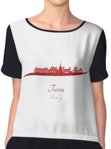 Turin skyline in red Chiffon Top