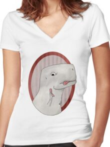 T-rex can't use a phone Women's Fitted V-Neck T-Shirt