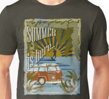Retro kite surf illustration,Summer is here slogan, vintage, Vektor Vintage Bus ,llustration, concep Unisex T-Shirt