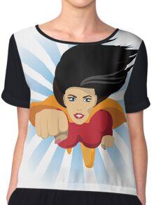 Super woman flies right at you Chiffon Top