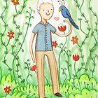 Sir David Attenborough & a Parrot by Sophie Corrigan