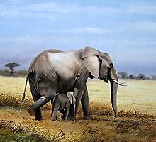 Mothers Love  Elephant and her Calf oil painting gifts by Mutan