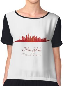 New York skyline in red Chiffon Top