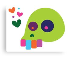 Colorful Cartoon Skull with Hearts Canvas Print