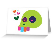 Colorful Cartoon Skull with Hearts Greeting Card