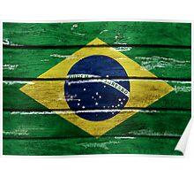 Brazilian flag grunge style Poster