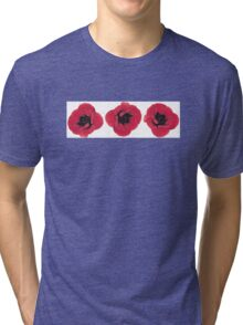 3 Red Poppies  Tri-blend T-Shirt