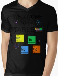 Periodic Table new elements: Nihonium, Tennessine, Moscovium, Oganesson Mens V-Neck T-Shirt
