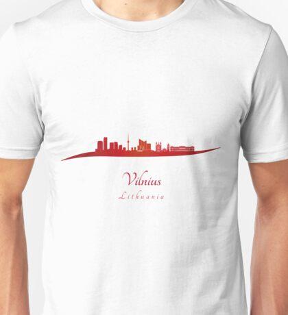 Vilnius skyline in red Unisex T-Shirt