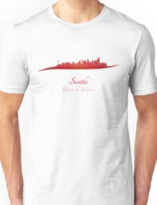 Seattle skyline in red Unisex T-Shirt
