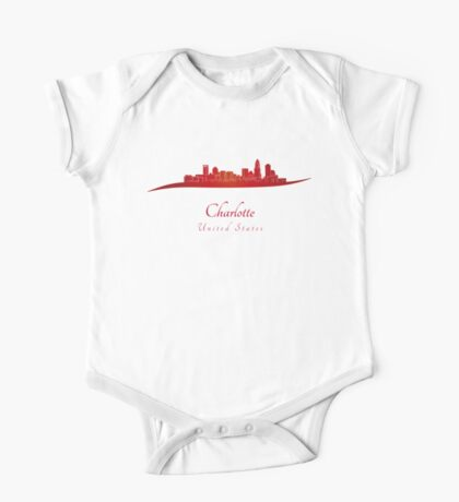 Charlotte skyline in red One Piece - Short Sleeve