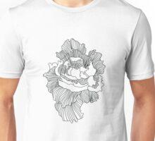 Flower Outline - Black Unisex T-Shirt