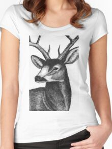Detailed black and white ink deer Women's Fitted Scoop T-Shirt