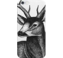 Detailed black and white ink deer iPhone Case/Skin