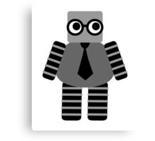 Cute Grey Geeky Robot Canvas Print
