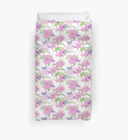 Lily and butterflies Duvet Cover