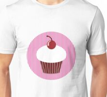 Vanilla Cupcake with Pink Stripes Unisex T-Shirt