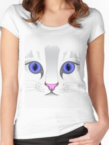 Cute White Kitty Cat Women's Fitted Scoop T-Shirt