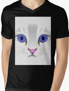 Cute White Kitty Cat Mens V-Neck T-Shirt