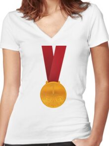 Gold Medal Women's Fitted V-Neck T-Shirt