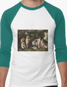 Jan Brueghel The Elder - Diana And Actaeon 1600. Vintage Baroque oil famous painting : lovely, woman ,  fantastic, diana, nude, beautiful, wonderful. Men's Baseball ¾ T-Shirt