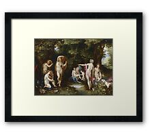 Jan Brueghel The Elder - Diana And Actaeon 1600. Vintage Baroque oil famous painting : lovely, woman ,  fantastic, diana, nude, beautiful, wonderful. Framed Print