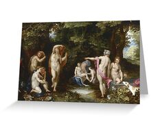 Jan Brueghel The Elder - Diana And Actaeon 1600. Vintage Baroque oil famous painting : lovely, woman ,  fantastic, diana, nude, beautiful, wonderful. Greeting Card