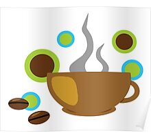 Stylish Pop Art Coffee Mug and Coffee Beans Poster