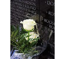 White Roses on the Vietnam Memorial in Washington D.C Photographic Print