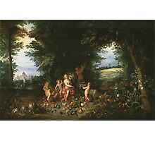 Jan Brueghel The Elder - Landscape With Ceres (Allegory Of Earth) 1630. Vintage Baroque oil famous painting : goddess Ceres, garden, floral flora, still life with fruits and vegetables, fruit . Photographic Print