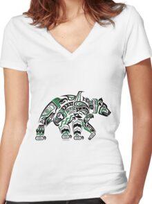 Kodiak - Original Haida, Tlingit Grizzly Bear Art - Green Women's Fitted V-Neck T-Shirt