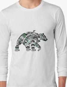 Kodiak - Original Haida, Tlingit Grizzly Bear Art - Green Long Sleeve T-Shirt