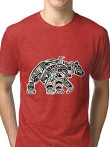 Kodiak - Original Haida, Tlingit Grizzly Bear Art - Green Tri-blend T-Shirt