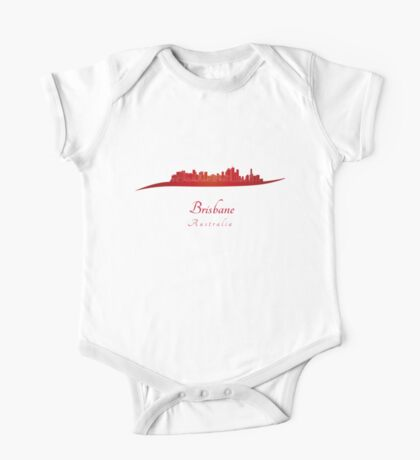 Brisbane skyline in red One Piece - Short Sleeve