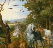 Jan Brueghel The Elder - The Entry Of The Animals Into Noah S Ark 1613. Animal portrait: cute cat, horse, race, man hobby, running, wild life, animal, racing mustang, hunt, cowboy, sport Sticker