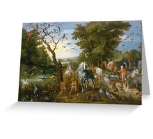 Jan Brueghel The Elder - The Entry Of The Animals Into Noah S Ark 1613. Animal portrait: cute cat, horse, race, man hobby, running, wild life, animal, racing mustang, hunt, cowboy, sport Greeting Card