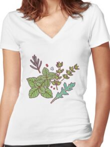 dark herbs pattern Women's Fitted V-Neck T-Shirt