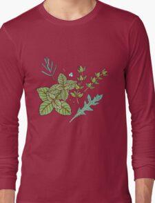 dark herbs pattern Long Sleeve T-Shirt