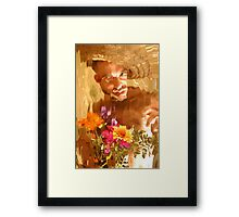 The Mad Man with Flowers Framed Print