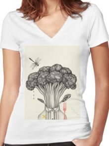 Mr. Broccoli Women's Fitted V-Neck T-Shirt