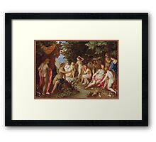 Jan Brueghel The Elder - Diana And Callisto 1605. Vintage Baroque oil famous painting : lovely, woman ,  fantastic, diana, nude, beautiful, wonderful. Framed Print