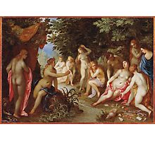 Jan Brueghel The Elder - Diana And Callisto 1605. Vintage Baroque oil famous painting : lovely, woman ,  fantastic, diana, nude, beautiful, wonderful. Photographic Print