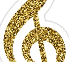 Gold Glitter Music Note Sticker