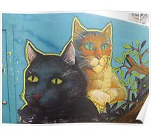 Colorful Cat Mural, Jersey City, New Jersey Poster