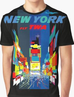 """TWA FLY TO NEW YORK"" Art Deco Print Graphic T-Shirt"