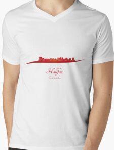 Halifax skyline in red Mens V-Neck T-Shirt