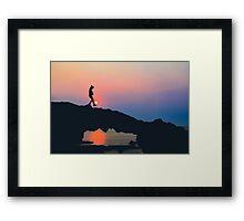 Beach Rock, Sunset on Ly Son, Vietnam Framed Print
