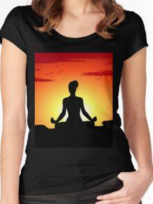 Female Yoga Meditating  Women's Fitted Scoop T-Shirt