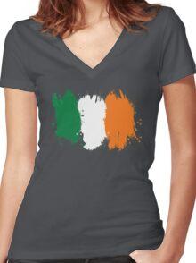 Ireland - Paint Splatter Women's Fitted V-Neck T-Shirt